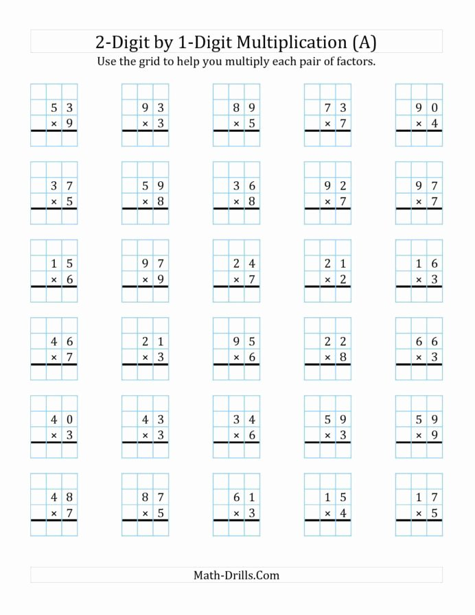 Multiplication Worksheets 2 Digit top Digit by Multiplication with Grid Support Two E Worksheets