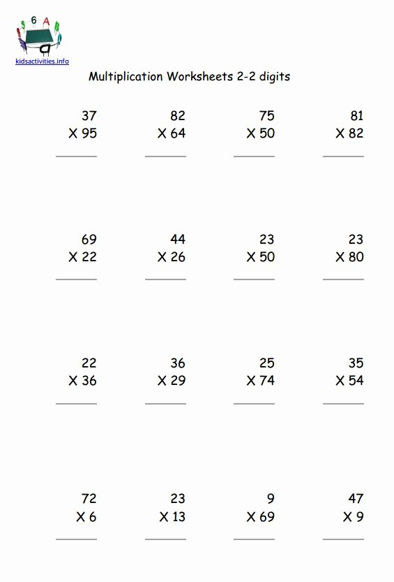 Multiplication Worksheets 2 Digits Awesome Multiplication Math Worksheet 4th Grade