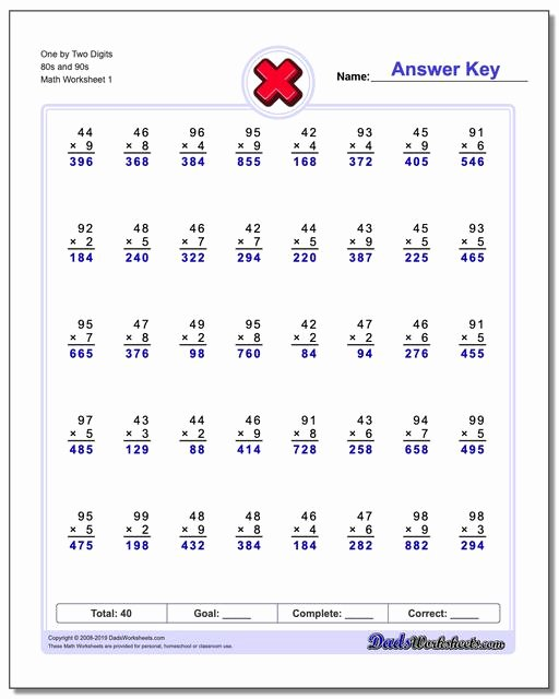 Multiplication Worksheets 2 Digits Inspirational Multiple Digit