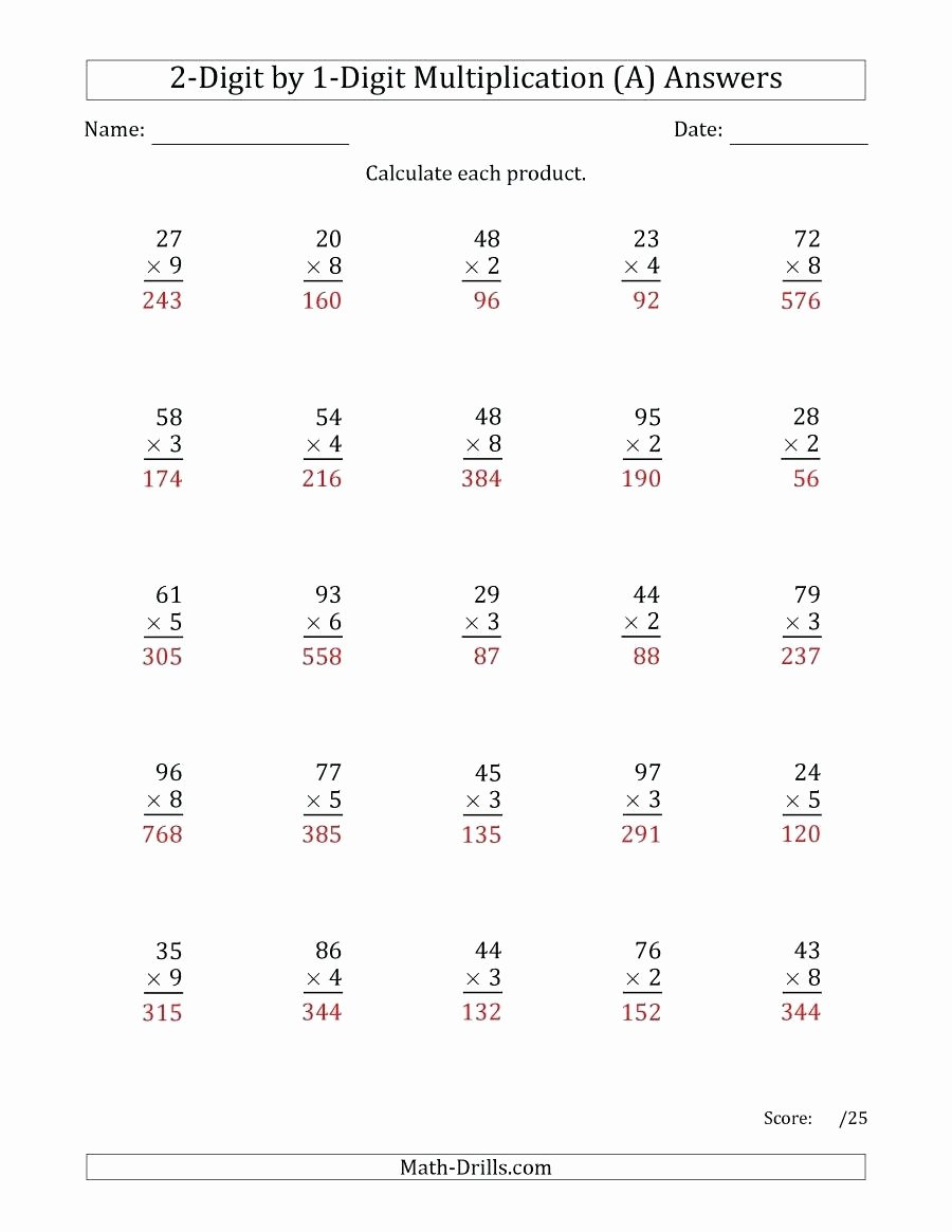 Multiplication Worksheets 2 Digits Unique Multiplication 2s Worksheets the Multiplying 2 Digit by 1
