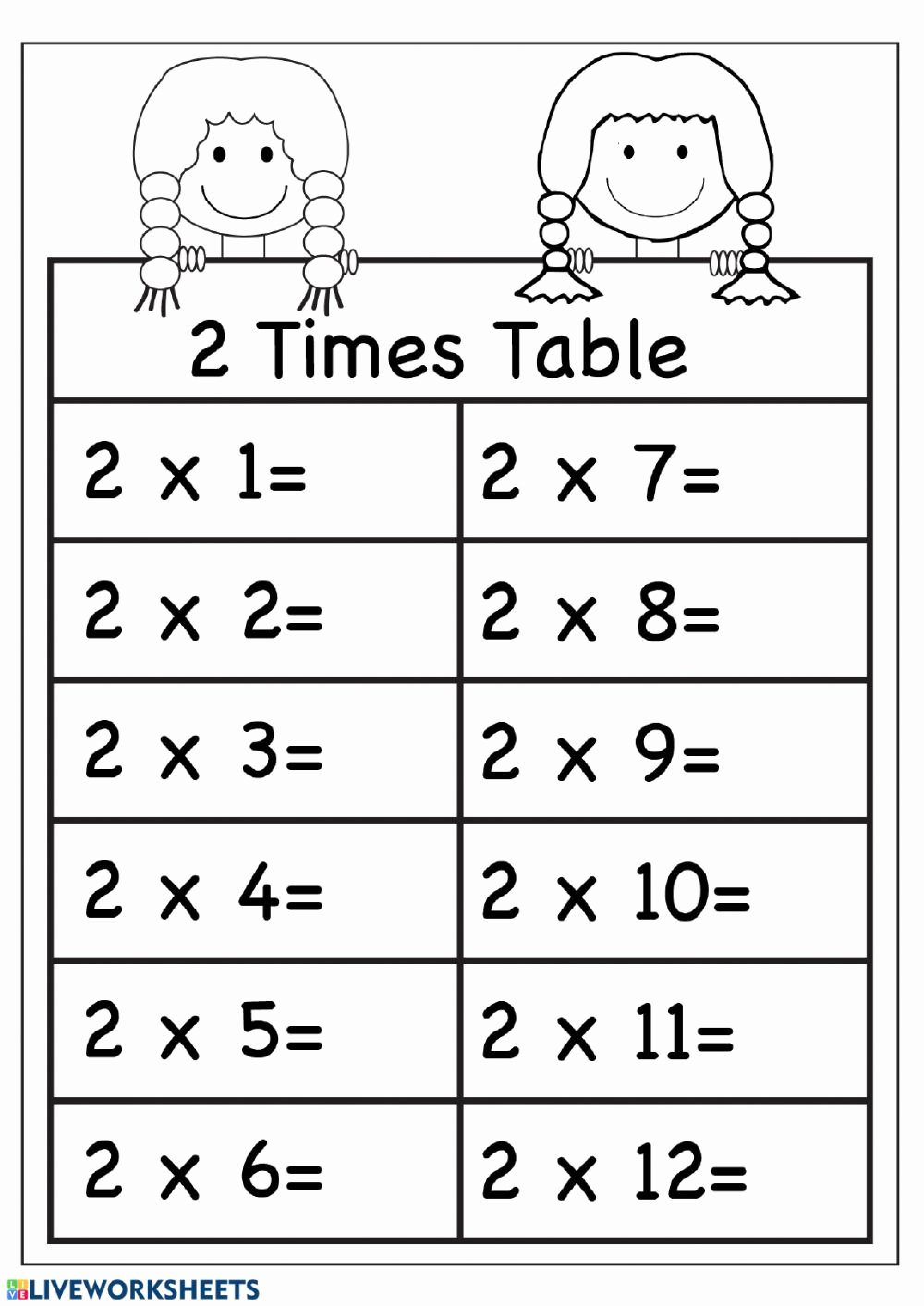Multiplication Worksheets 2 Times Tables top Multiplication Practice Interactive Worksheet by Worksheets