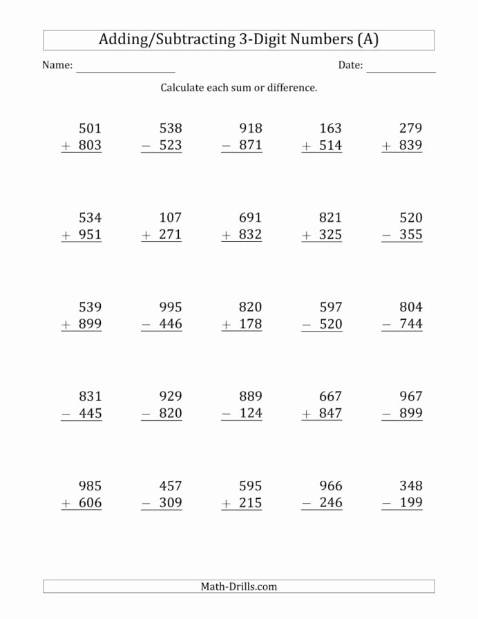 Multiplication Worksheets 3 Digit Awesome Digit Plus Minus Addition and Subtraction with some Free