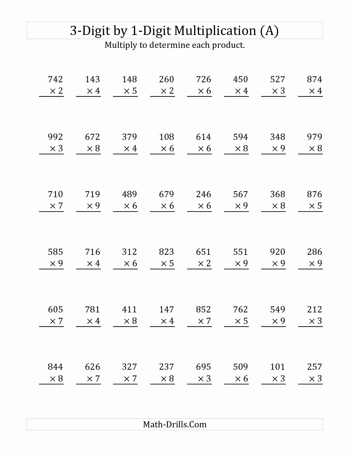 Multiplication Worksheets 3 Digit by 1 Digit Fresh 3 Digit by 1 Digit Multiplication A Long Multiplication
