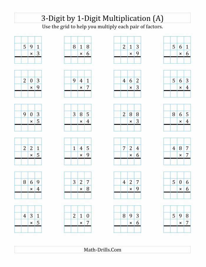 Multiplication Worksheets 3 Digit by 1 Digit Unique 3 Digit by 1 Digit Multiplication Worksheets