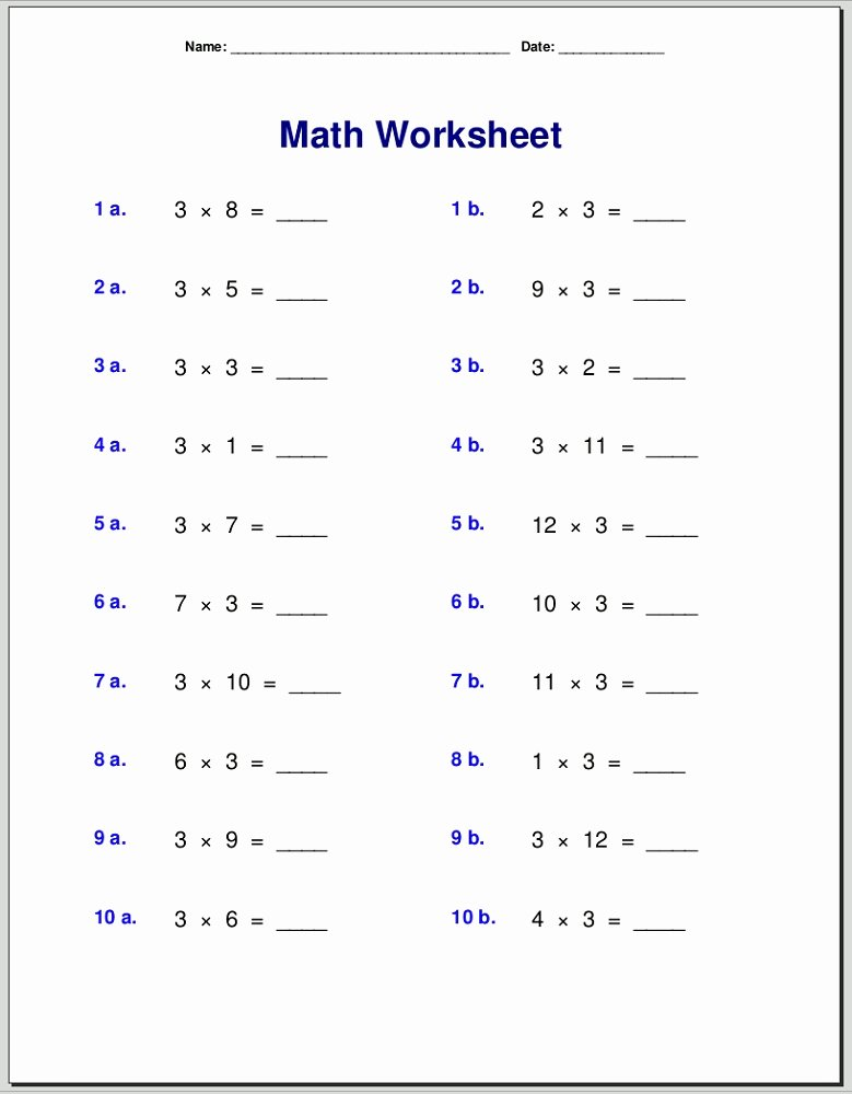 Multiplication Worksheets 3 Times Tables Fresh Easy and Simple 3 Times Table Worksheets