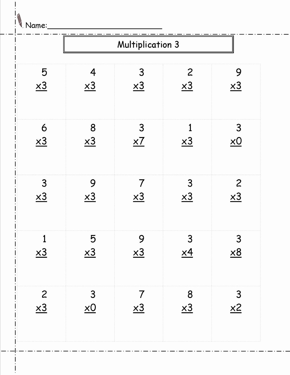 Multiplication Worksheets 3's Fresh Multiply by 3 Worksheet Free