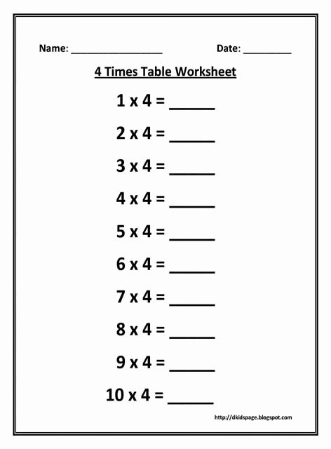 Multiplication Worksheets 4 Times Tables Lovely Kids Page 4 Times Multiplication Table Worksheet