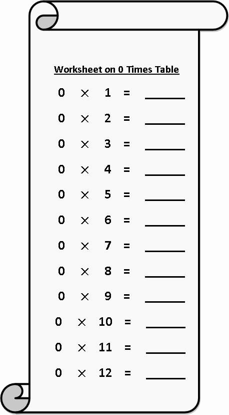 Multiplication Worksheets 4 Times Tables top Worksheet On 0 Times Table