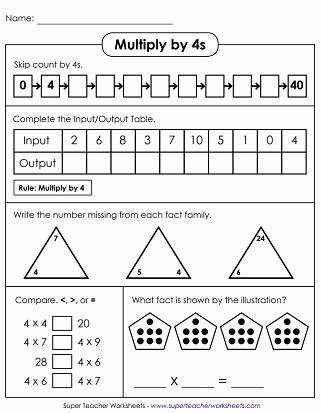Multiplication Worksheets 4's Unique Multiplication by 4s Printables