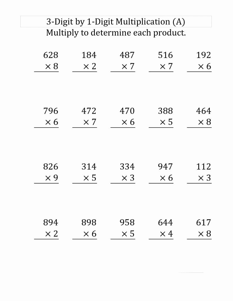 Multiplication Worksheets 4th Grade Awesome 2 Four Grade Math Worksheets 4th Grade Multiplication