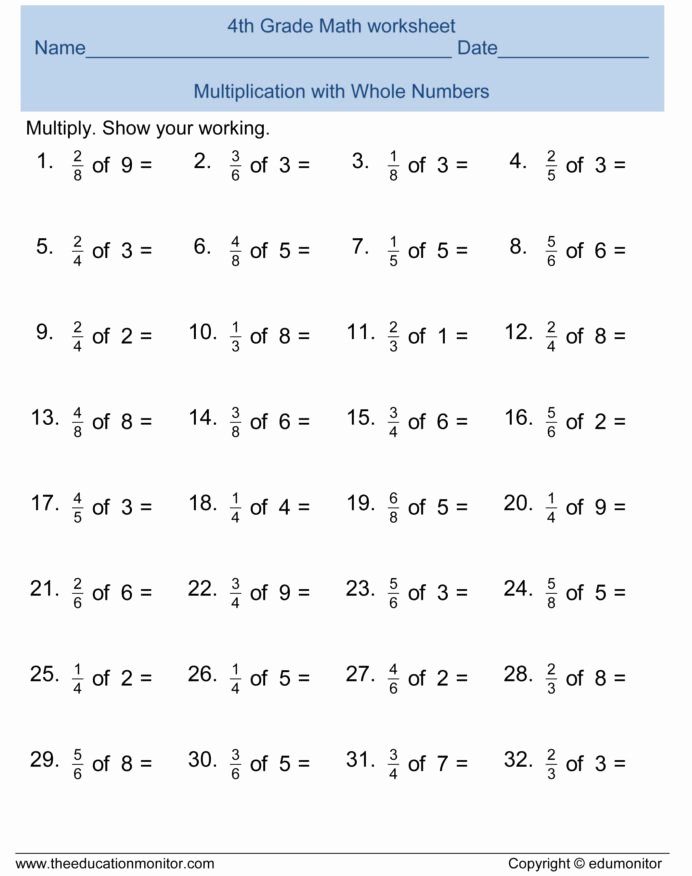 free 4th grade fractions math worksheets and printables edumonitor 4