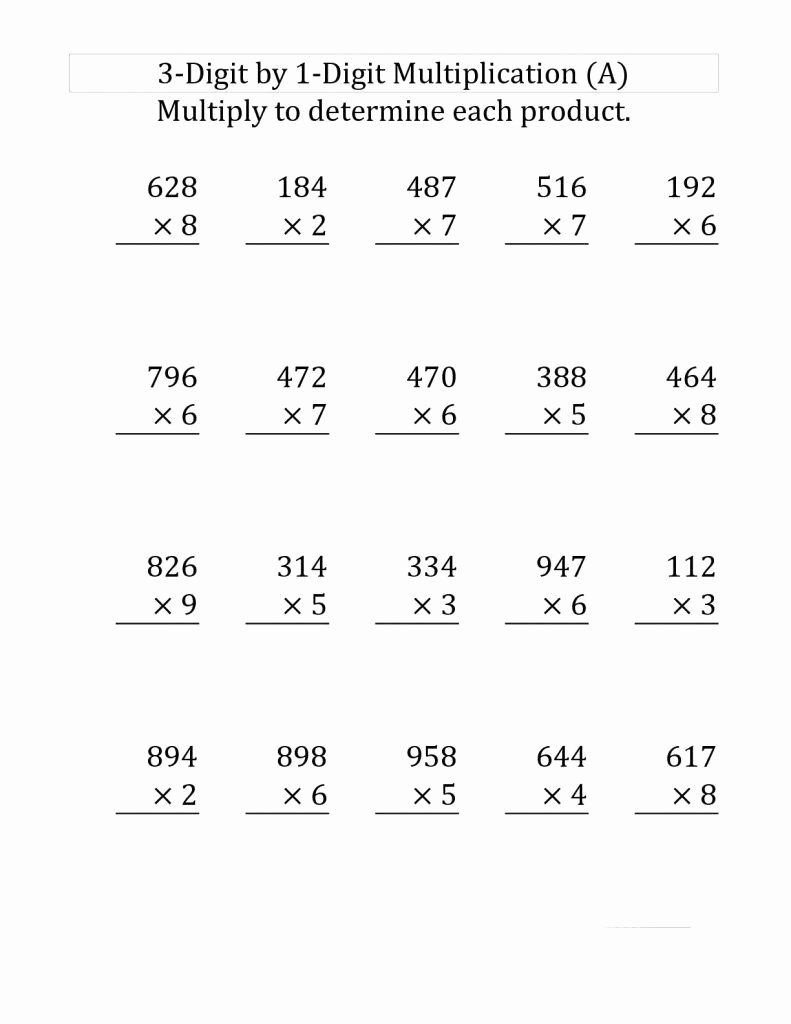 Multiplication Worksheets 4th Grade Printable Fresh Worksheet Worksheeth Grade Math Worksheets 4th