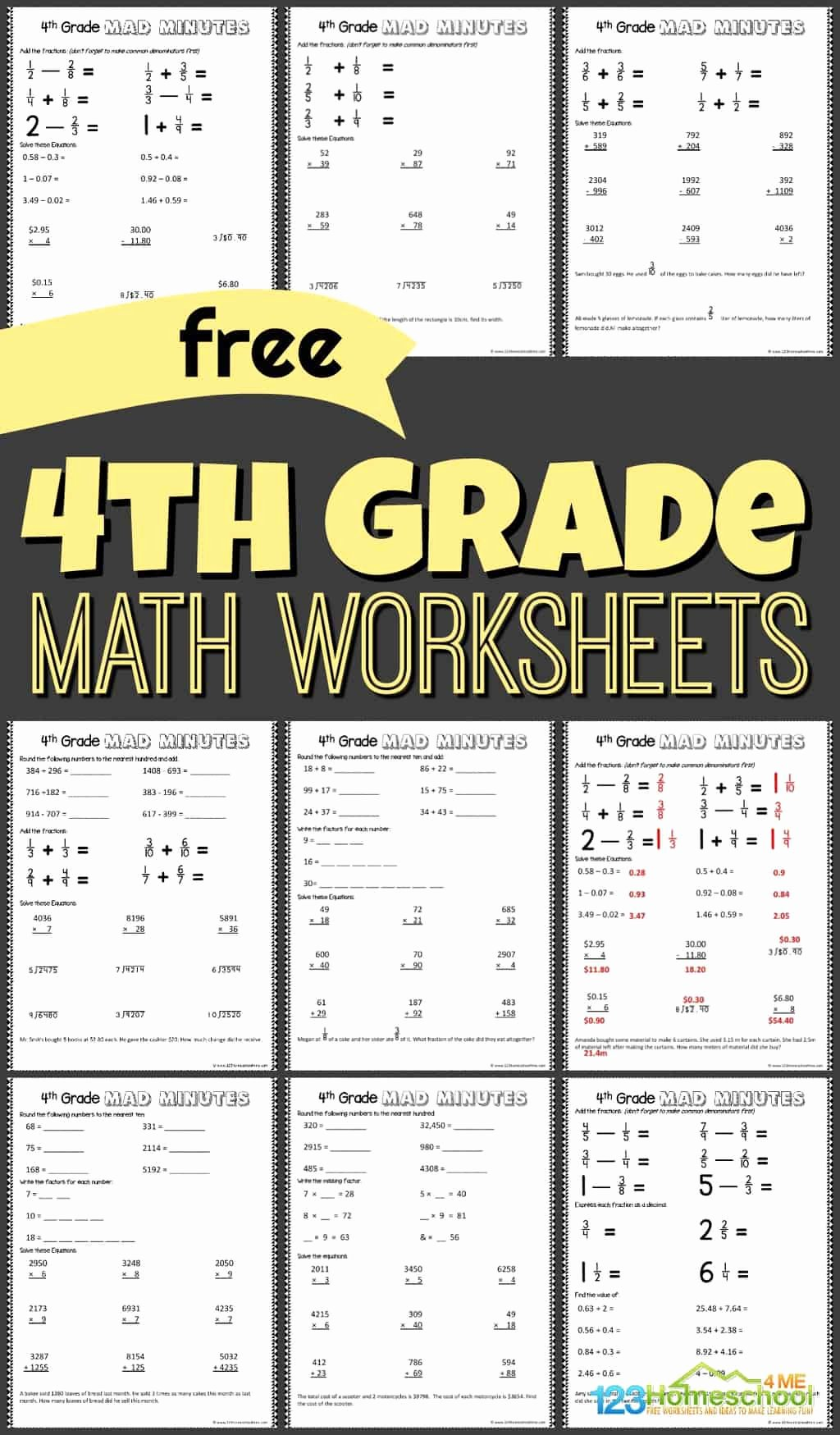 Multiplication Worksheets 4th Grade Printable New Free 4th Grade Math Worksheets