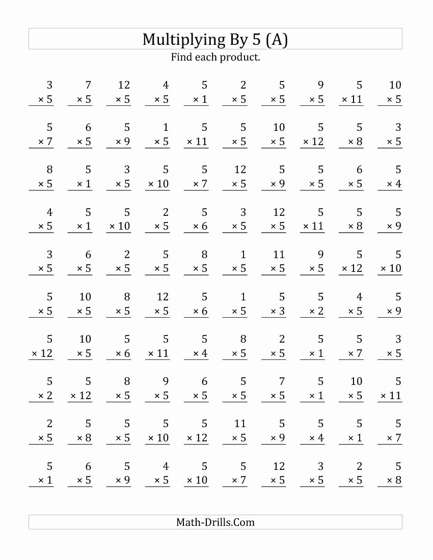 Multiplication Worksheets 5 Best Of Multiplying 1 to 12 by 5 A Multiplication Worksheet