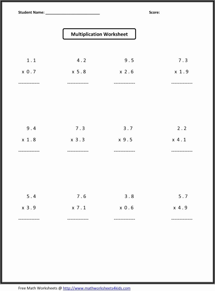 Multiplication Worksheets 6 Best Of Worksheets for Grade Printable and Activities 7th Math