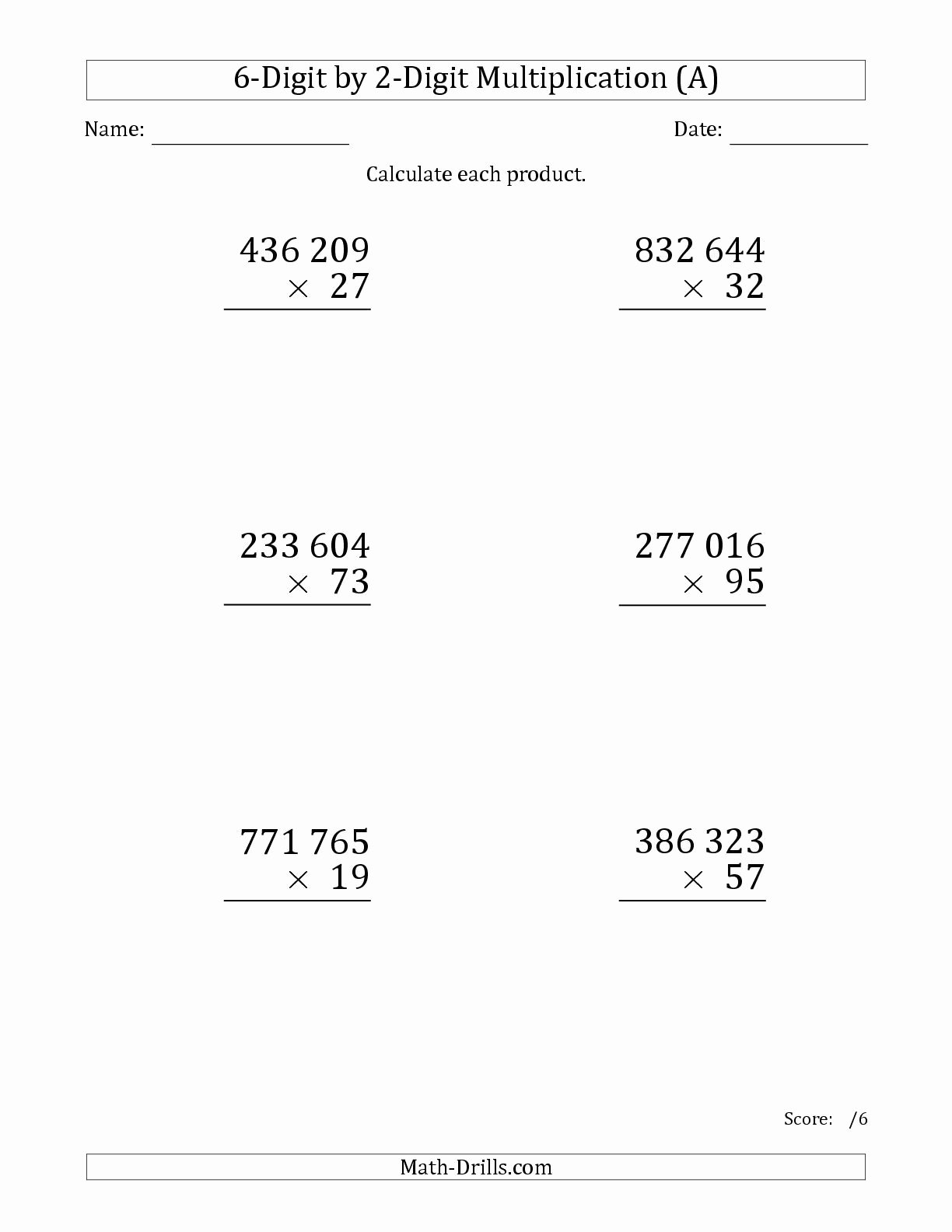 Multiplication Worksheets 6 Inspirational the Multiplying 6 Digit by 2 Digit Numbers Print