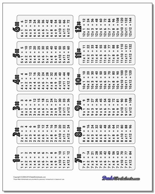 Multiplication Worksheets 6 Times Tables Fresh Multiplication Table
