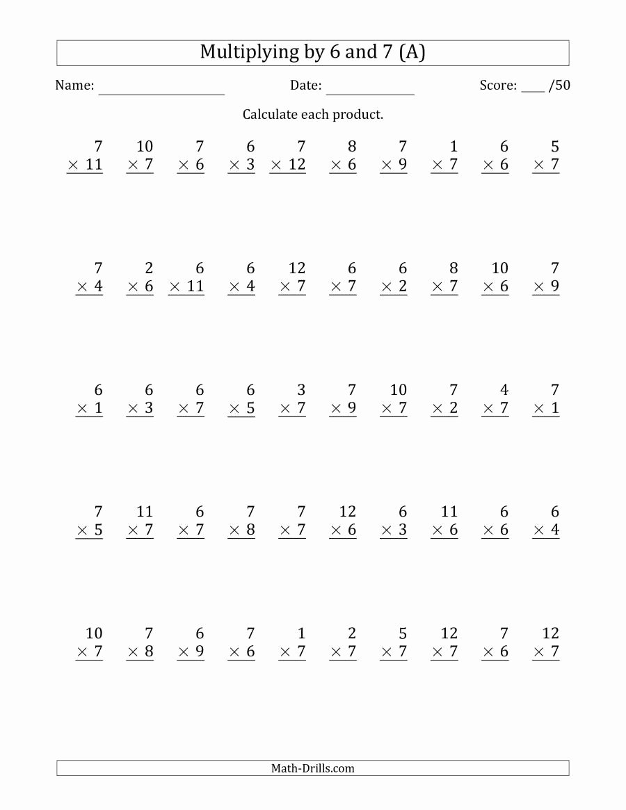 Multiplication Worksheets 6 Unique Multiplying by 6 and 7 with Factors 1 to 12 50 Questions A