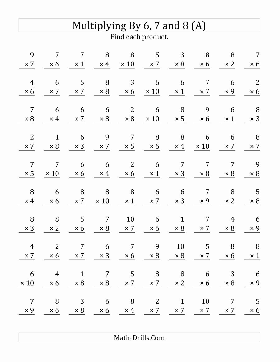 Multiplication Worksheets 7 Fresh 6 7 8 Multiplication Worksheets