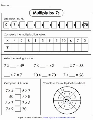 Multiplication Worksheets 7 Fresh Multiplication by 7 Worksheets