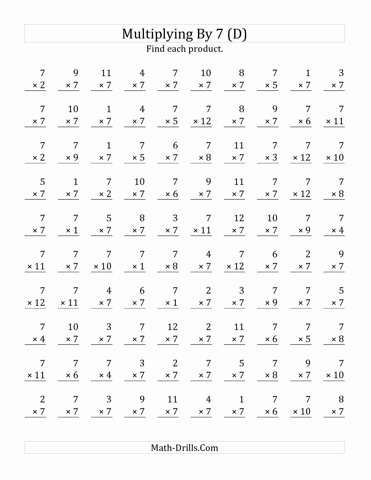 Multiplication Worksheets 7 New the Multiplying 1 to 12 by 7 D Math Worksheet From the Mul