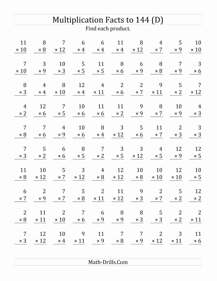 Multiplication Worksheets 7s Lovely the Multiplication Facts to 144 No Zeros No Es D Math Wo
