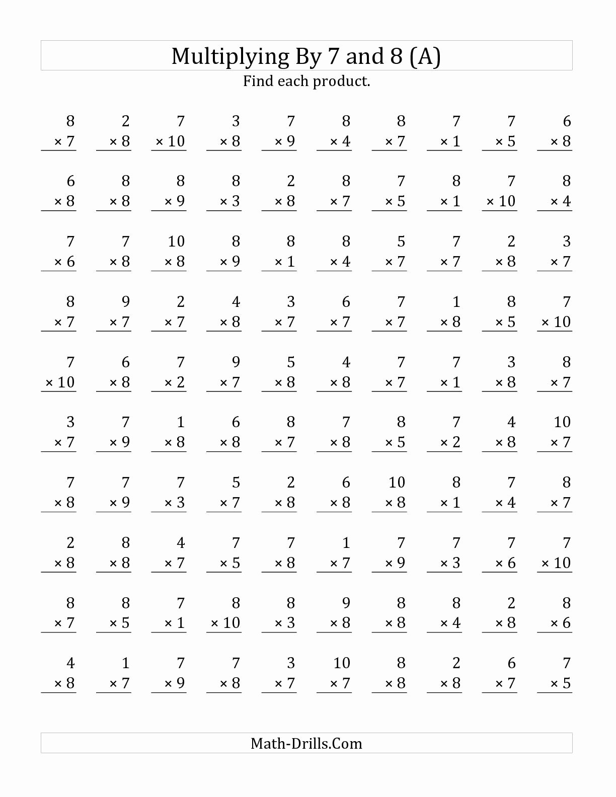 Multiplication Worksheets 8 top Multiplication Facts 8 Worksheets