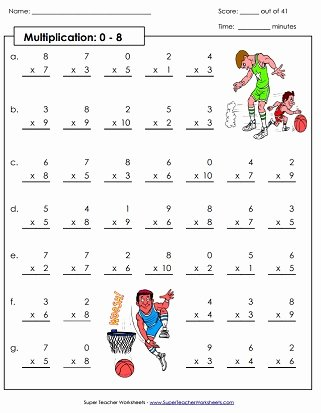 Multiplication Worksheets 8 Unique Multiplication Worksheets Basic Facts with 8 as A Factor