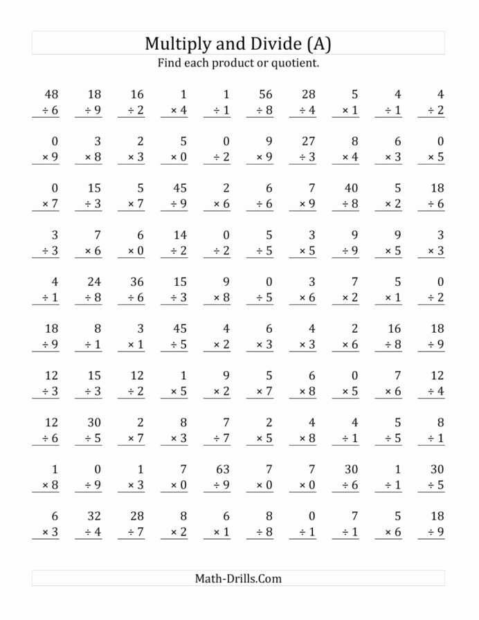 Multiplication Worksheets 9 Awesome Multiplying and Dividing with Facts From to Multiplication