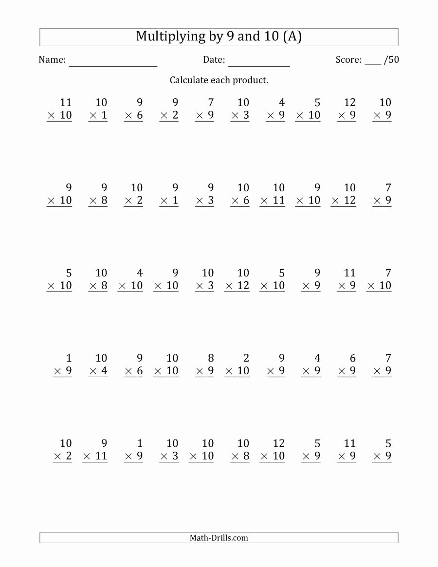Multiplication Worksheets 9 Awesome Multiplying by 9 and 10 with Factors 1 to 12 50 Questions A