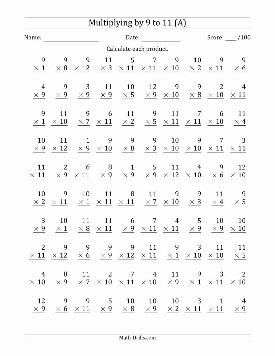 Multiplication Worksheets 9 Awesome Multiplying by 9 to 11 with Factors 1 to 12 100 Questions A