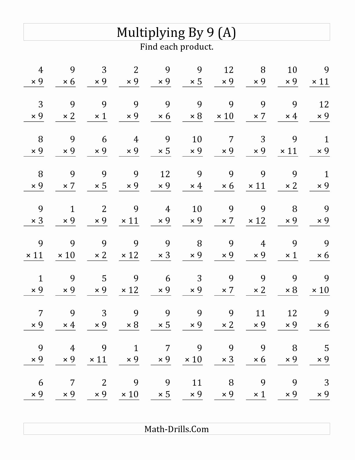 Multiplication Worksheets 9 New the Multiplying 1 to 12 by 9 A Math Worksheet From the