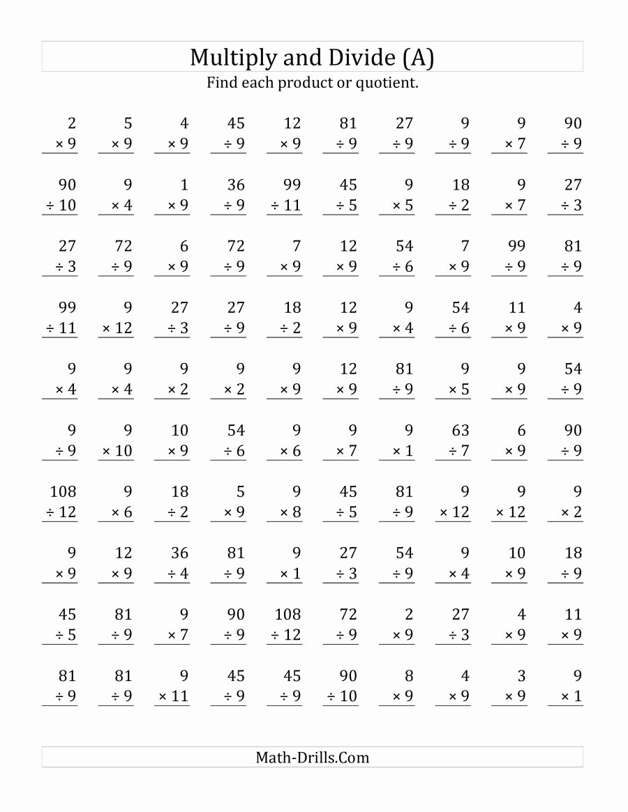 Multiplication Worksheets 9s Inspirational Multiplying and Dividing by 9 A