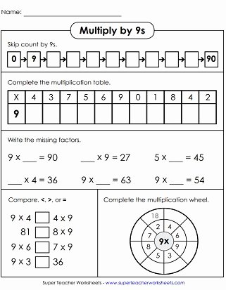 Multiplication Worksheets 9s Lovely Multiplication Worksheets Basic Facts with Factors Of 9