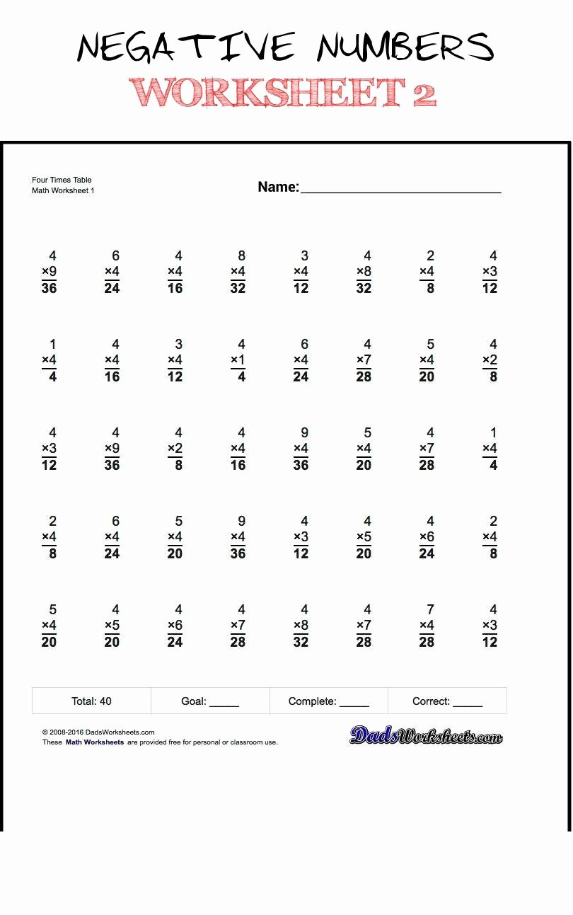Multiplication Worksheets by 2 Lovely Negative Numbers Worksheet 2 2 Multiplying Negative Numbers