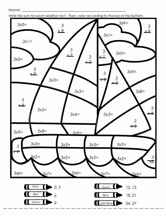 Multiplication Worksheets Coloring Fresh Sailboat Multiplication Color by Number Worksheet