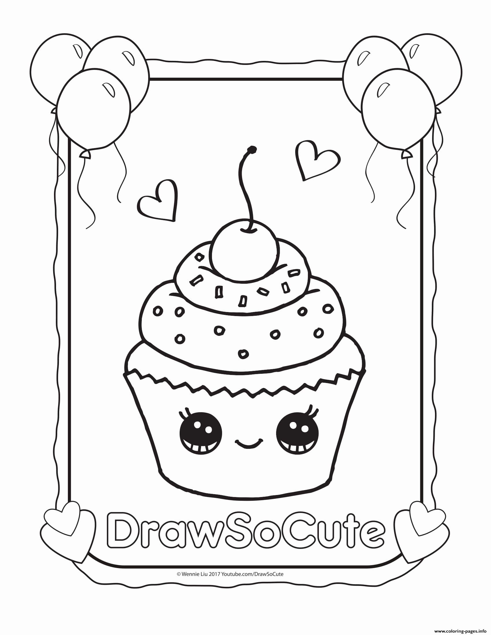 Multiplication Worksheets Coloring Unique Cupcake Draw so Cute Coloring Printable Cupcake