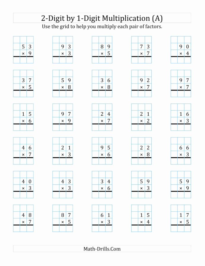 Multiplication Worksheets Creator top Digit by Multiplication with Grid Support Two E Worksheets