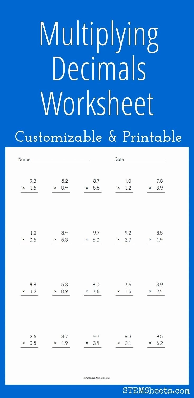 Multiplication Worksheets Decimals Best Of Pin On Printable Worksheets