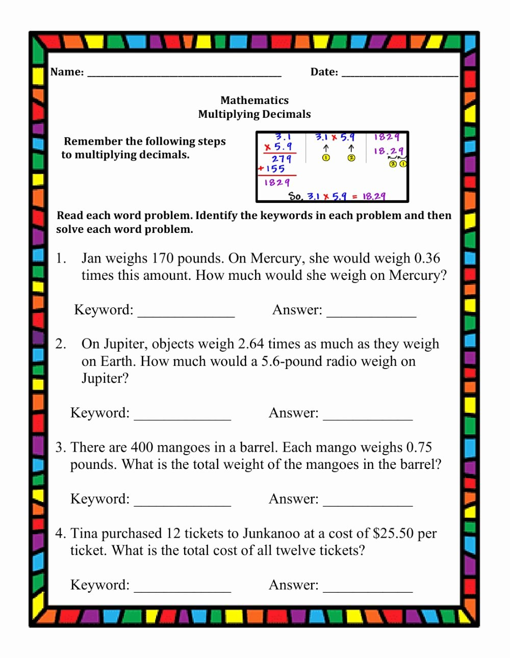 Multiplication Worksheets Decimals Inspirational Multiplying Decimals Word Problems Interactive Worksheet