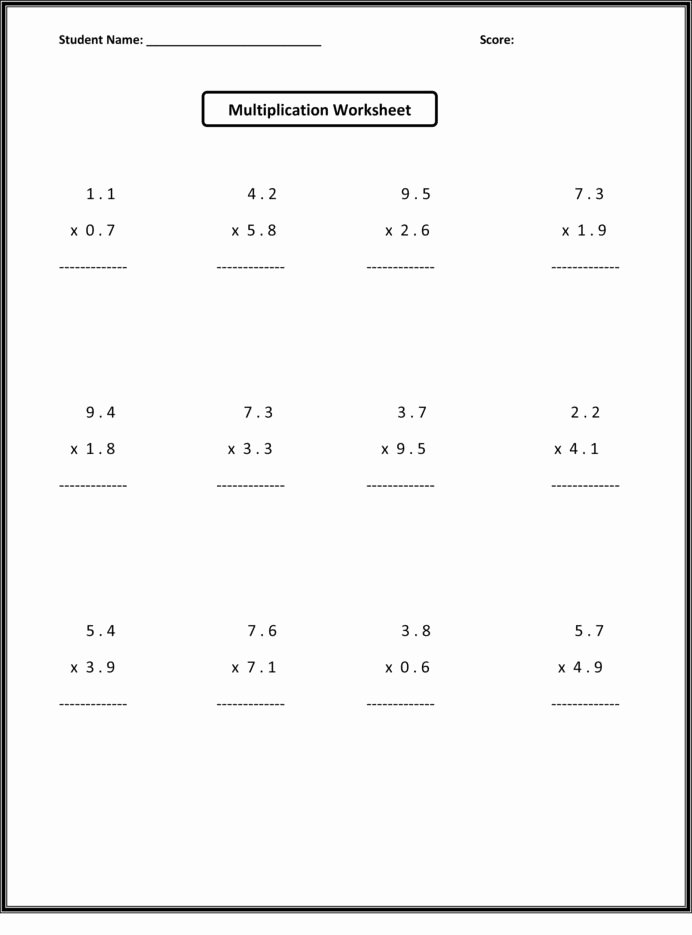 Multiplication Worksheets Decimals Lovely 6th Grade Math Worksheets Activity Shelter Free Decimals