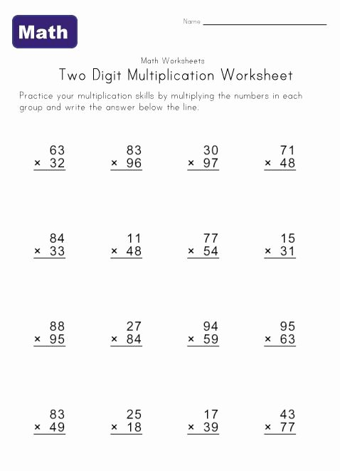Multiplication Worksheets Double Digit Awesome Two Digit Multiplication Worksheets