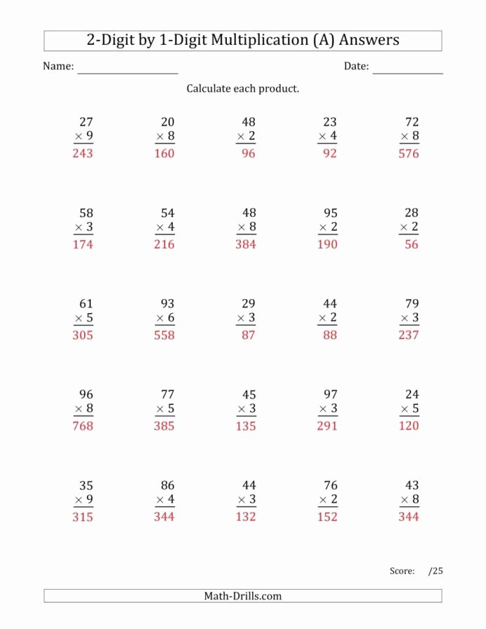 Multiplication Worksheets Double Digit New Multiplying Digit by Numbers Two Multiplication Worksheets
