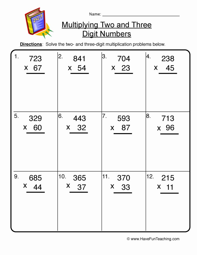 Multiplication Worksheets Double Digit New Two and Three Digit Multiplication Worksheet