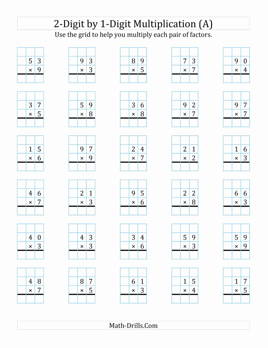 Multiplication Worksheets Double Digit top 2 Digit by 1 Digit Multiplication with Grid Support A