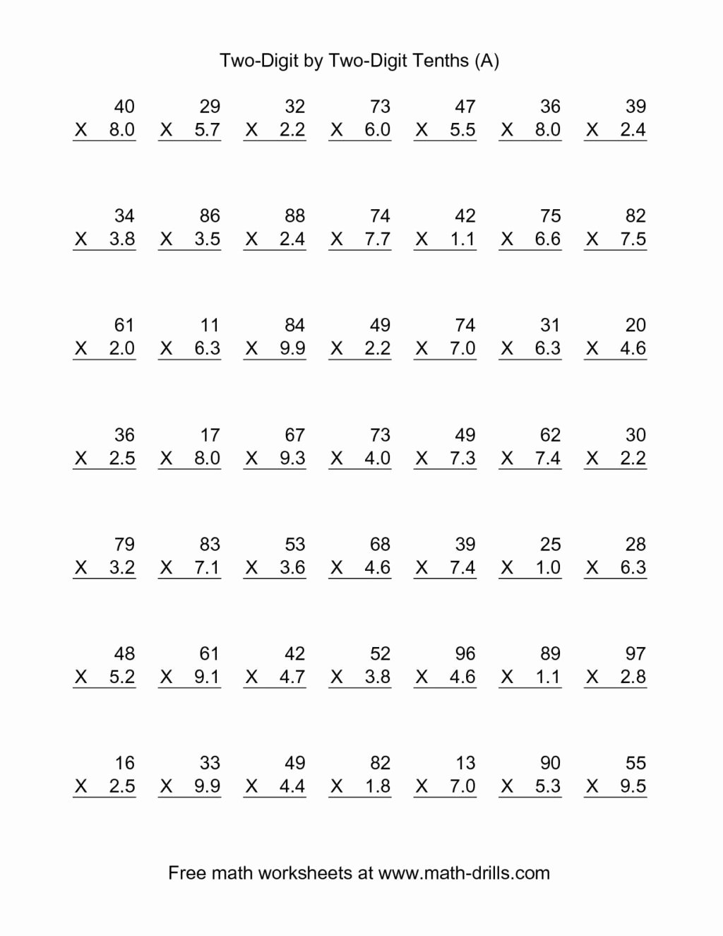 Multiplication Worksheets Double Digit top Worksheet Phenomenal Multiplication Worksheets for Grade