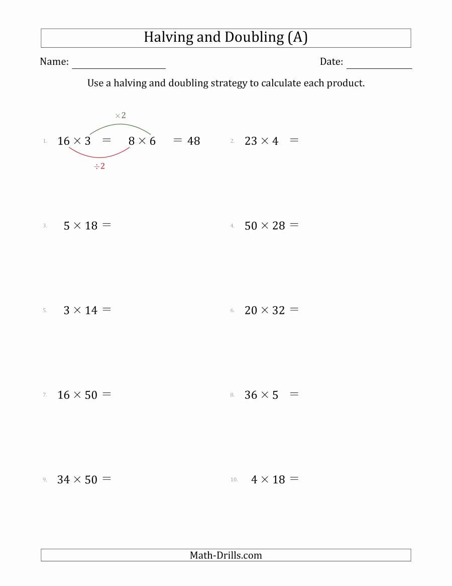 Multiplication Worksheets Doubles Fresh Halving and Doubling Strategy with Easier Questions A