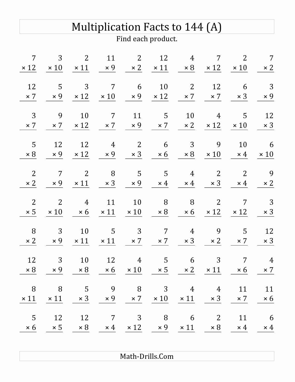 Multiplication Worksheets Facts Best Of Multiplication Facts to 144 No Zeros No Es A
