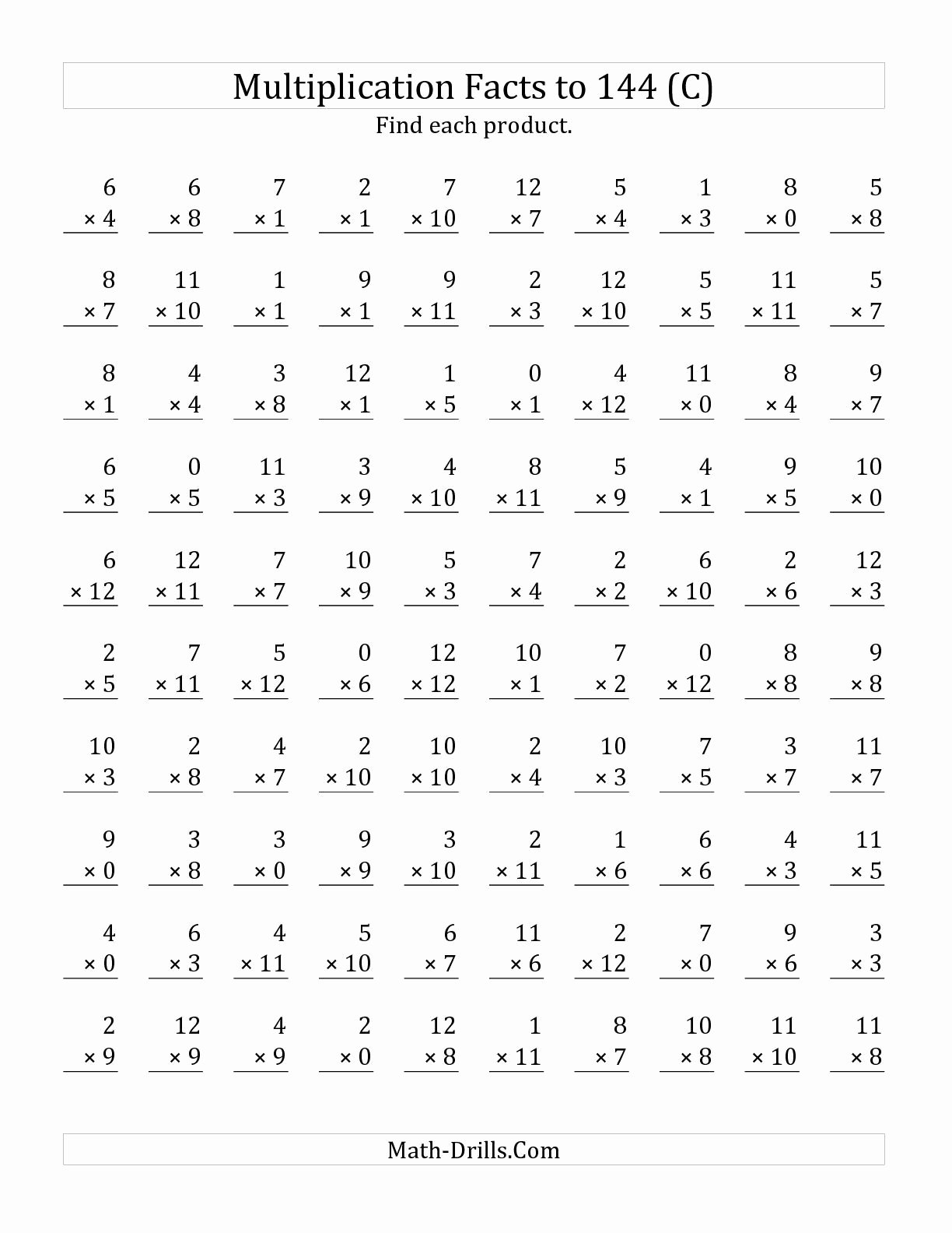 Multiplication Worksheets Facts New the Multiplication Facts to 144 Including Zeros C Math Wor