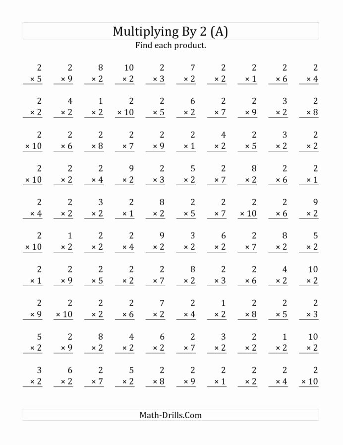 Multiplication Worksheets for 1st Grade top the Multiplying to by Math Worksheet From Multiplication
